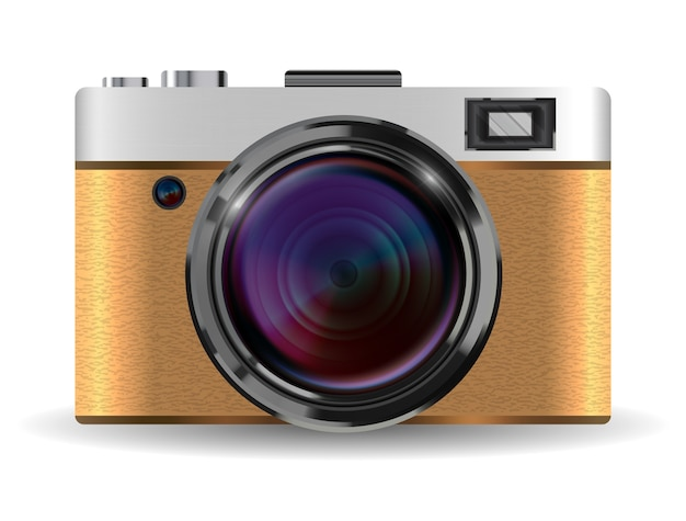 Real vintage brown compact pocket camera vector