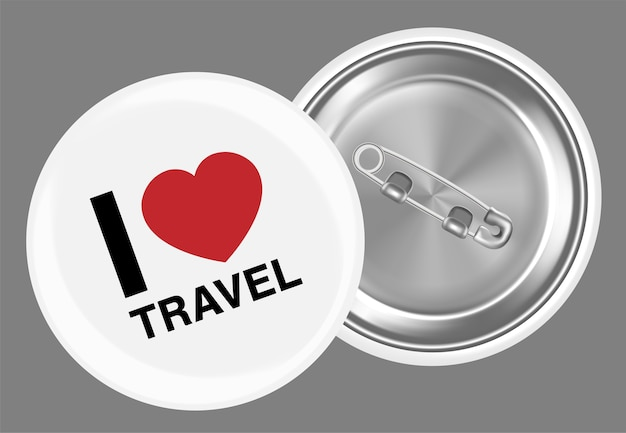 Real white steel brooch with i love travel  word