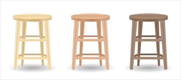 Настоящий деревянный круглый стул, установленный на белом фоне