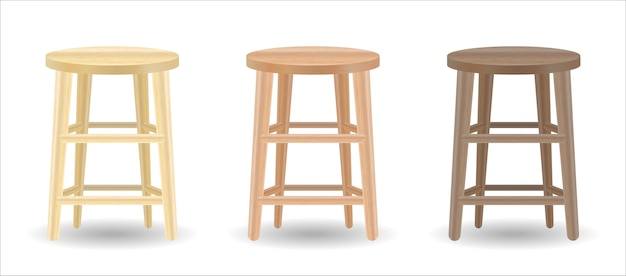 Real wood round chair set on white background