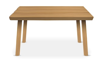 Real wood table on a white background