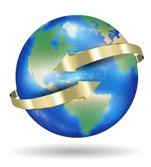 Real world earth planet with golden arrow
