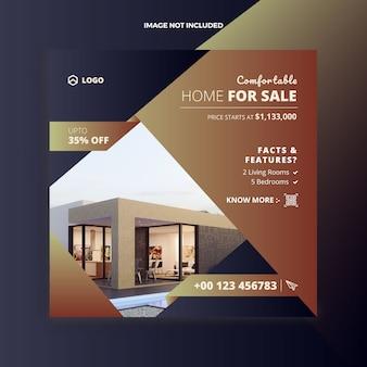 부동산 집 판매 소셜 미디어 게시물 및 웹 배너