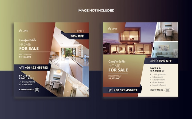 Realestate house sale social media post and web banner