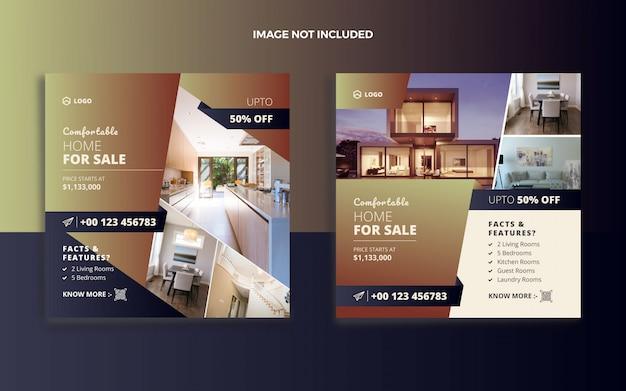 Realestate house saleソーシャルメディアポストおよびwebバナー