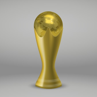 Realictic soccer gold cup isolated