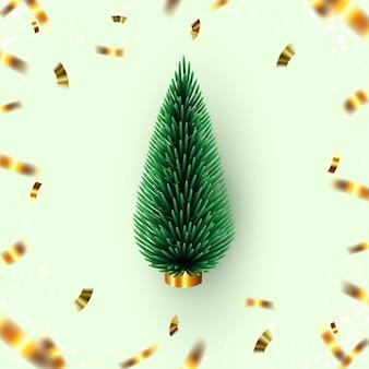 현실적인 3d 녹색 크리스마스 콘 트리와 골드 색종이 크리 에이 티브 겨울 휴가 구성
