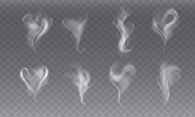 Realisitc set with steam smoke different shapes on gray background. abstract fume waves or white vapor from coffee or tea, hot food or drink, cigarette. transparent elements for menu. fog effect.