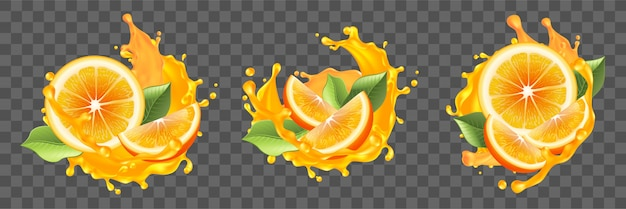Realism, oranges, juice splashes set collection