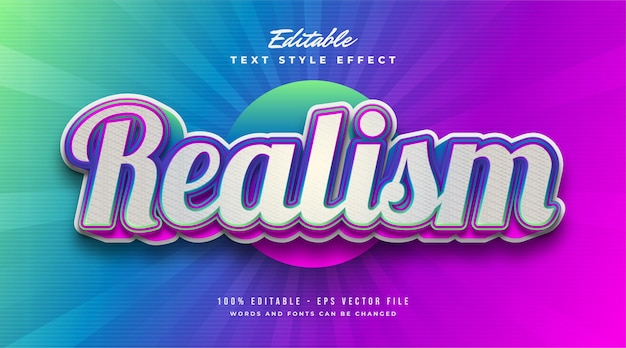 Realism text in colorful gradient effect. editable text style effect