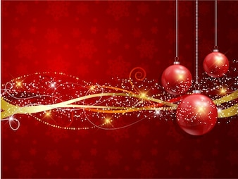 Realist christmas balls with golden ribbons background