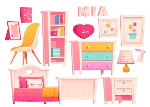 Realist illustration of various furniture set