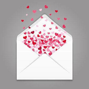 Realistc white paper envelope with colorful hearts confetti