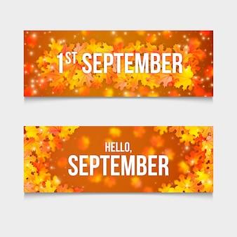 Набор реалистичных горизонтальных баннеров 1 сентября
