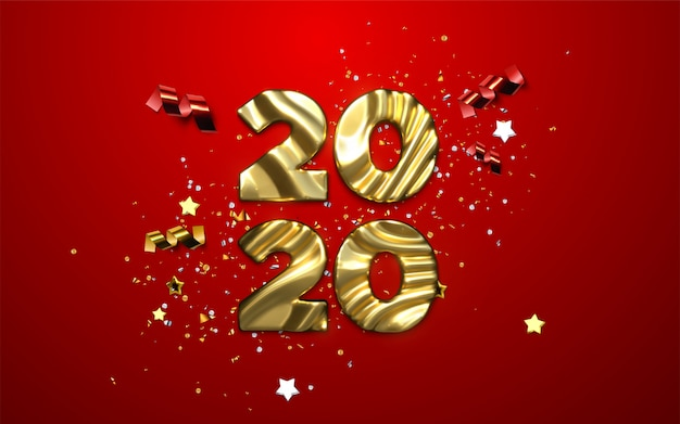 Realistic 2020 golden numbers and festive confetti, stars and ribbons.  holiday illustration