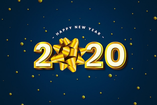 Realistic 2020 new year with elegant ribbon bow