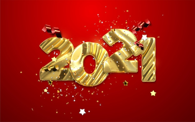 Realistic 2021 golden numbers and festive confetti, stars and spiral ribbons on red background