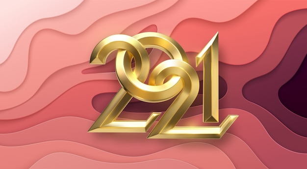 Realistic 2021 golden and silver numbers on red paper cut background