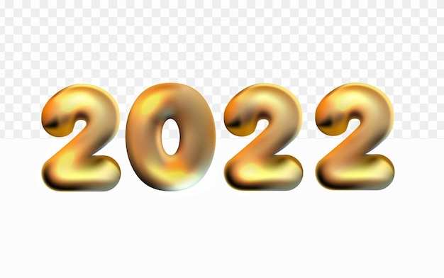Realistic 2022 happy new year ballon 3d on white transparent background