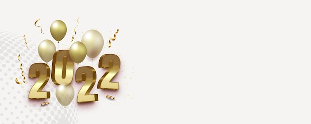 Realistic 2022 happy new year banner in 3d style with text space