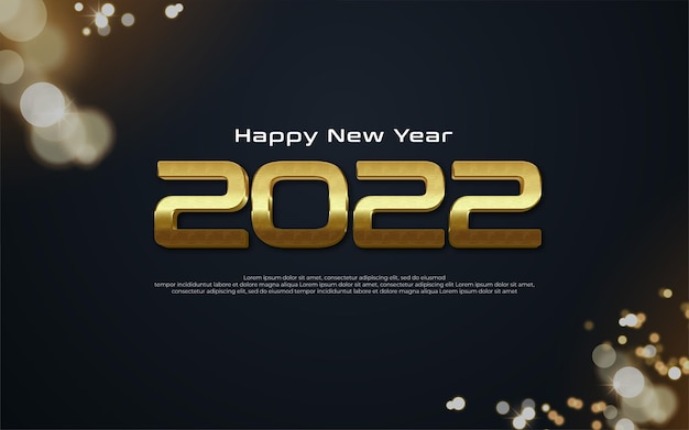 Realistic 2022 happy new year banner with gold number