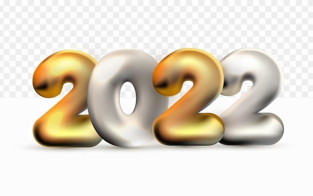 Realistic 2022 happy new year gold silver balloon 3d on white transparent background