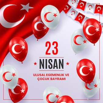 Realistic 23 nisan illustration with balloons