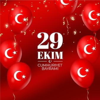 Realistic 29 ekim with balloons