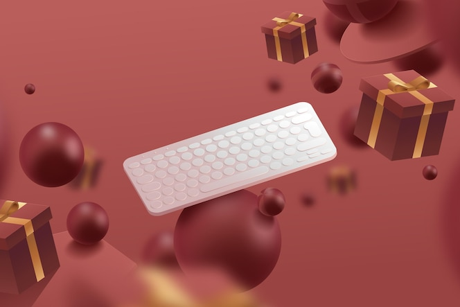 Realistic 3d advert with keyboard