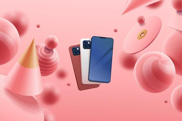 Annuncio 3d realistico con i telefoni