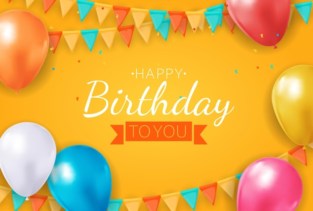Realistic 3d balloon background  happy birthday greeting