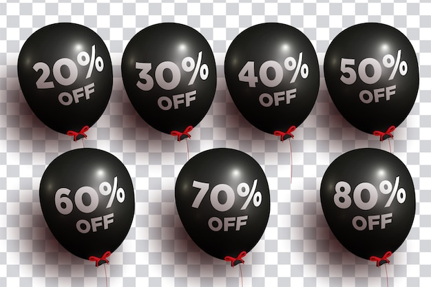 Realistic 3d balloons with percentage pack