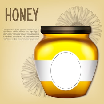 Realistic 3d bank of honey.