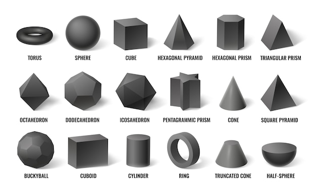 Realistic 3d basic shapes.