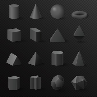 Realistic 3d basic volumetric black diamond shapes primitives figures set