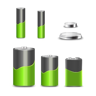 Realistic 3d battery types decorative icons set