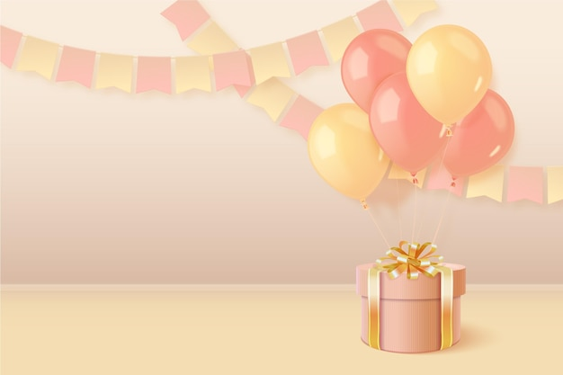 Realistic 3d birthday background