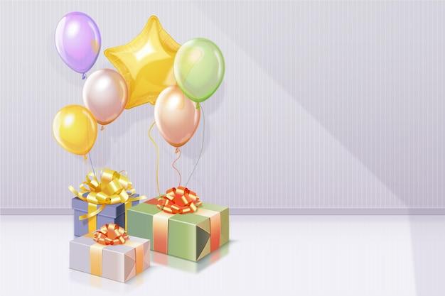 Sfondo di compleanno 3d realistico