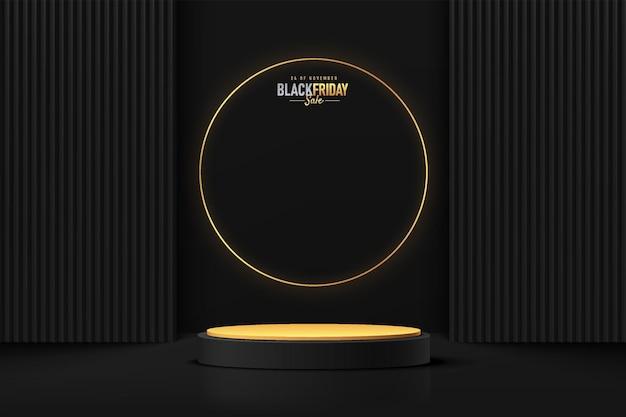 럭셔리 블랙 프라이데이 판매 장면에서 황금 반지가 있는 현실적인 3d 검은 실린더 받침대