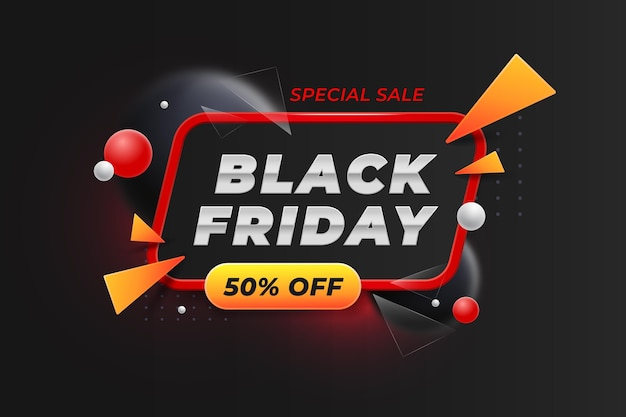 Realistic 3d black friday background