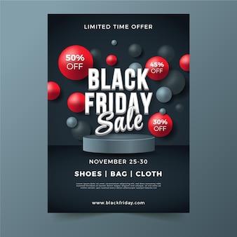 Modello di poster verticale realistico 3d black friday