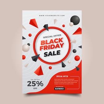 Modello realistico del manifesto di vendita verticale del black friday 3d