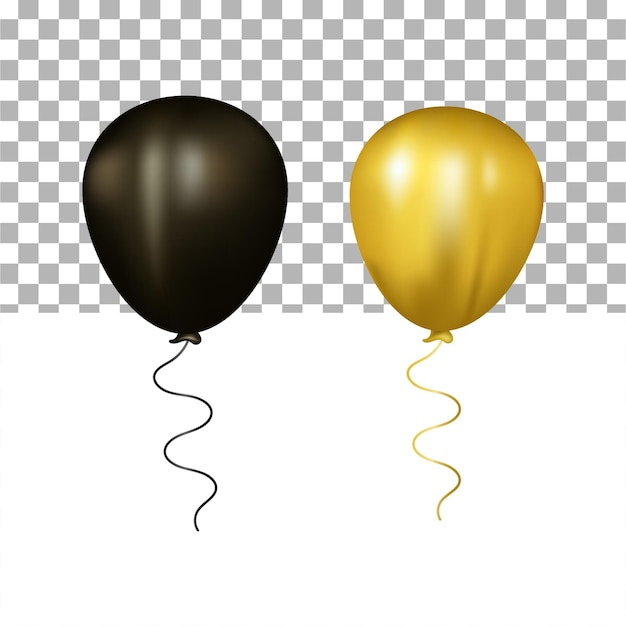 Realistic 3d black and gold balloons set on transparent background