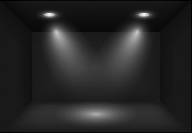 교차 스포트 라이트 또는 프로젝터와 현실적인 3d 블랙 라이트 박스. 쇼룸 조명. 쇼, 전시회 라이트 박스 배경입니다. 스튜디오 인테리어 빈 및 빈 템플릿입니다.