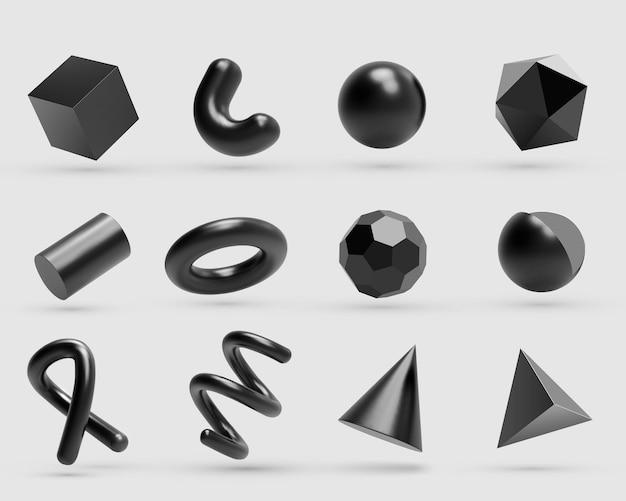 Реалистичные 3d объекты геометрических фигур из черного металла Premium векторы