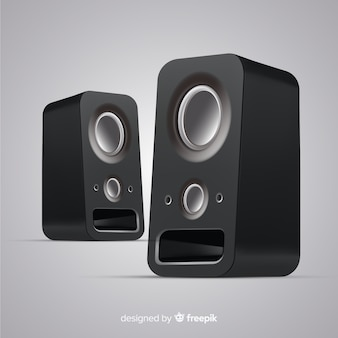 Realistic 3d black speaker background