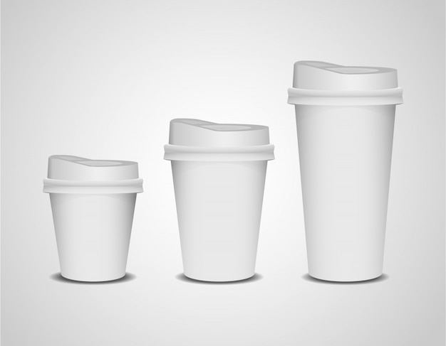 Realistic  3d blank paper coffee cup set of different size