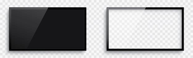 현실적인 3d 빈 tv 화면. 그림자와 함께 빈 tv 프레임입니다.