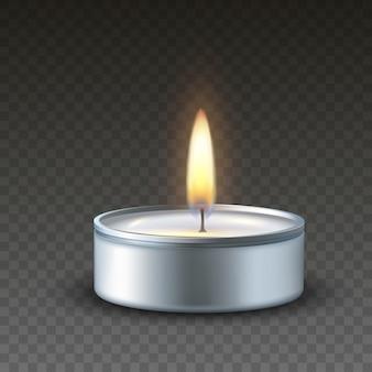 Realistic 3d burning tea candle on dark