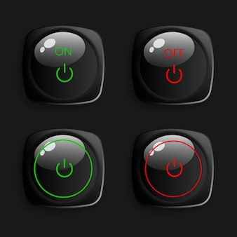 현실적인 3d 버튼 컬렉션 팩
